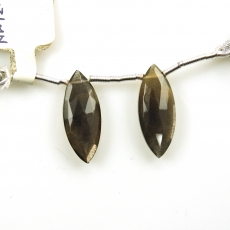 Black Moonstone Drops Marquise Shape 22x9mm Drilled Beads Matching Pair