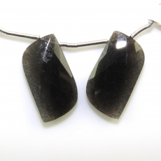 Black Moonstone Drops Wave Shape 23x13mm Drilled Beads Matiching Pair