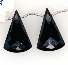Black Spinal Drop Conical Shape 24x15mm Drilled Bead Matching Pair