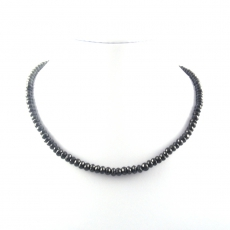 Black Spinel Bead Necklace Approximately 160 Carat Roundelle 5mm To 6 Mm