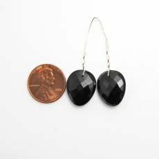 Black Spinel Drop Oval Shape 17x14mm Drilled Bead Matching Pair