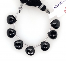 Black Spinel Drop Pear Shape 10x10mm Drilled Bead Line 7 Beads