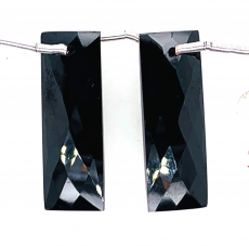 Black Spinel Drops  Rectangle Shape 27x8mm Drilled Beads Matching Pair