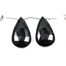 Black Spinel Drops   Almond Shape 25x15mm Drilled Beads Matching Pair