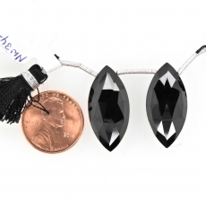 Black Spinel Drops Marquise Shape 25x12mm Drilled Beads Matching Pair