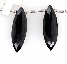 Black Spinel Drops Marquise Shape 27x7mm Drilled Beads Matching Pair