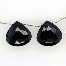 Black Spinel Drops Pear Shape 27x7mm Drilled Beads Matching Pair