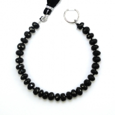 Black Spinel Roundelle 9mm To 7mm Accent Beads 6 Inch