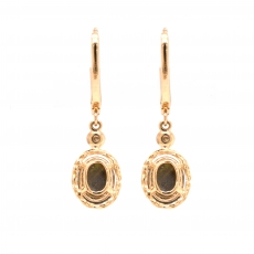 Black Star Sapphire 4.12 Carat With Accented Diamond Dangle Earring in 14K Yellow Gold