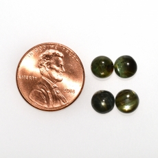 Black Star Sapphire Cab Round 6.5mm Approximately 6 Carat