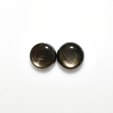 Black Star Sapphire Cab Round 8.5mm Approximately 6.00 Carat Matching Pair
