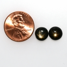 Black Star Sapphire Cab Round 8mm Approximately 6 Carat
