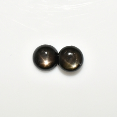 Black Star Sapphire Cab Round 9mm Approximately 6.00 Carat Matching Pair