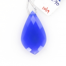 Blue Chalcedony Drops Leaf Shape 35x20mm Drilled Bead Single Piece
