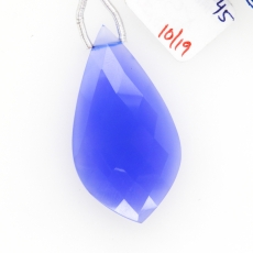 Blue Chalcedony Drops Leaf Shape 38x20mm Drilled Bead Single Piece