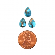 Blue Copper Turquoise Cab Pear Shape 10x7mm Approximately 6.50 Carat
