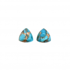 Blue Copper Turquoise Trillion Shape 10mm Matching Pair 6.50 Carat