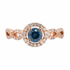 Blue Diamond 0.62 Carat With Accented Diamond Halo Ring In 14K Rose Gold