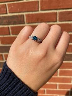 Blue Diamond 0.69 Carat With Accented Diamond Ring In 14K White Gold