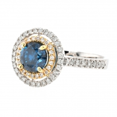 Blue Diamond 1.02 Carat With Accented Diamond Double Halo Ring In 14K Dual Tone (Yellow/White) Gold
