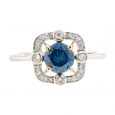 Blue Diamond 1.02 Carat With Accented Diamond Halo Ring In 14K Dual Tone (Yellow/White) Gold