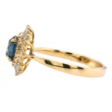 Blue Diamond 1.07 Carat With Accented Diamond Halo Ring In 14K Yellow Gold
