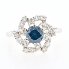 Blue Diamond 1.07 Carat With Accented Diamond Pinwheel Halo Ring In 14K White Gold