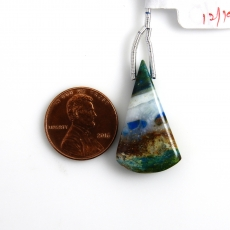 Blue Opalina Drop Conical Shape 28x16mm Drilled Bead Single Pendant Piece