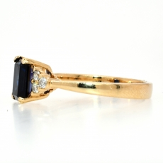 Blue Sapphire 1.17 Carat with White Diamonds in a 14K Yellow Gold Ring