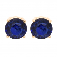 Blue Sapphire 2.00 Carat Stud Earring in 14K Yellow Gold