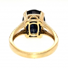 Blue Sapphire 6.02 Carat With Accented Diamond Split Shank Ring In 14K Yellow Gold