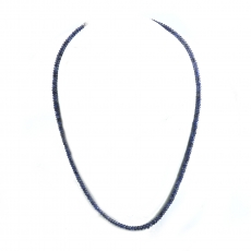 Blue Sapphire Drops Roundelle Shape 5mm To 2mm Accent Beads Ready To Wear Neclace