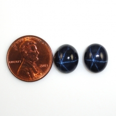 Blue Star Sapphire Cabs Oval 12x10mm Matched Pair Approximately 14.35 Carat