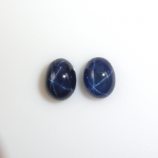 Blue Star Sapphire Cabs Oval 8x6.5mm Matched Pair Approximately 5.33 Carat