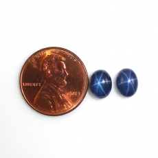 Blue Star Sapphire Cabs Oval 8x6mm Matched Pair Approximately 4.72 Carat