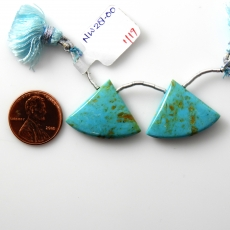 Blue Turquoise Drops Fan Shape 26x20mm Drilled Bead Matching Pair