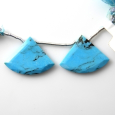 Blue Turquoise Drops Fan Shape 27x20mm Drilled Bead Matching Pair