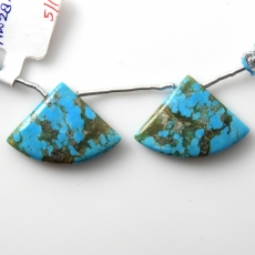 Blue Turquoise Drops Fan Shape 28x20mm Drilled Bead Matching Pair