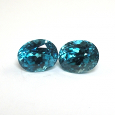 Blue Zircon Oval 10.6x8.3mm 13.25carat Matched Pair*
