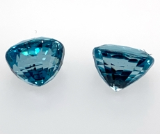 Blue Zircon Oval 9x7mm Matching Pair 8.99 Carat