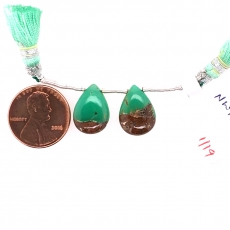 Boulder Chrysoprase Drop Almond Shape 15x11mm Drilled Beads Matching Pair