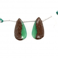 Boulder Chrysoprase Drop Almond Shape 20x11mm Drilled Beads Matching Pair
