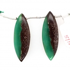 Boulder Chrysoprase Drop Marquise Shape 35x12mm Drilled Beads Matching Pair