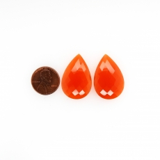 Carnelian Cabs Pear 30x20mm Approximately 43.95 Carat Matching Pair