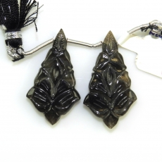 Carved Black Moonstone Drops Kite Shape 34x18mm Drilled Bead Matching Pair
