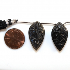 Carved Black Moonstone Drops Leaf Shape 27x15mm Drilled Beads Matiching Pair