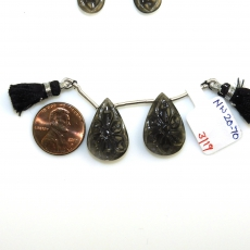 Carved Black Moonstone Drops Pear Shape 22x15mm Drilled Beads Matiching Pair