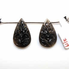Carved Black Moonstone Drops Pear Shape 24x15mm Drilled Beads Matiching Pair