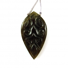 Carved Black Moonstone Leaf Shape 31x17mm Drilled Bread Single Pendant Piece