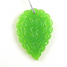 Carved Carved Chrysoprase Drop Leaf Shape 43x29mm Drilled Bead Single Piece